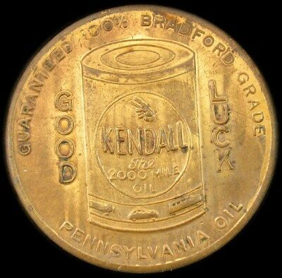 Kendall Oil Pennsylvania Good Luck Advertising Token - AU - Summer Grades