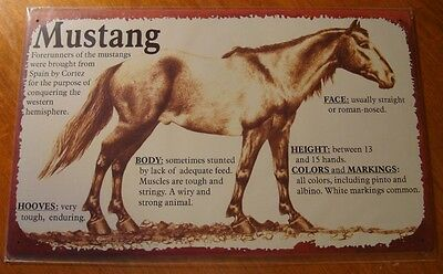 MUSTANG BREED INFORMATION Rustic Horse Rider Farm Ranch Barn Sign Home Decor NEW
