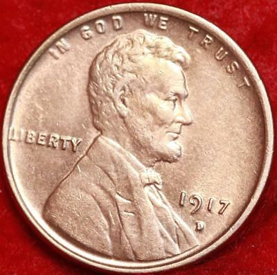 Uncirculated 1917-D Denver Mint Red Copper Lincoln Wheat Cent Free Shipping