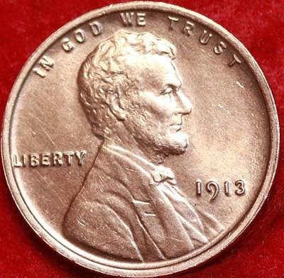 Uncirculated 1913 Philadelphia Mint Red Copper Lincoln Wheat Cent Free Shipping