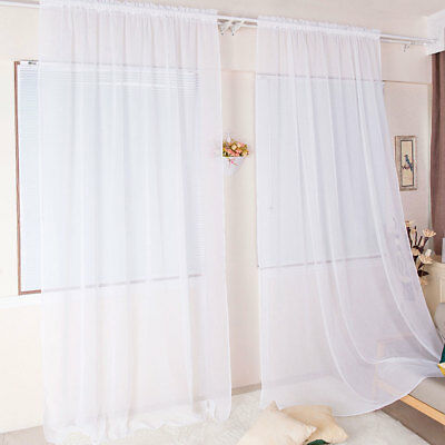 "1 Pack Fully Stitched Sheer Voile Window Curtain Panel Drapes 72"" 79"" 84"" 90"" L"
