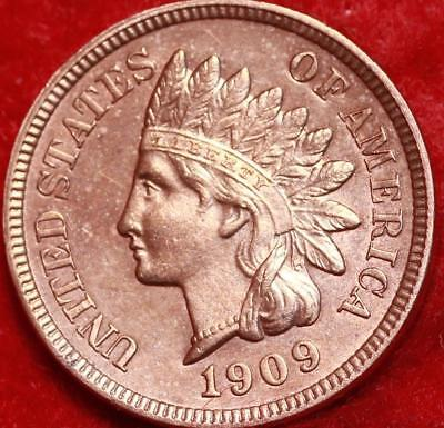 Uncirculated 1909 Philadelphia Mint Red Copper Indian Head Cent Free S/H