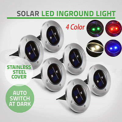 Outdoor Solar Powered LED Buried Inground Ground Night Light Garden Pathway Lamp