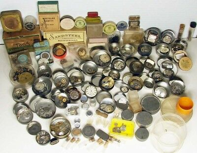 ANTIQUE-Vintage Collection of 99 Watchmaker's Containers,61 Have Parts-Very Neat