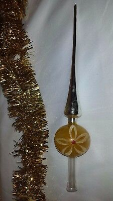 Vintage Mercury Glass Tree Topper Christmas Holiday Tree Ornament Hand Painted