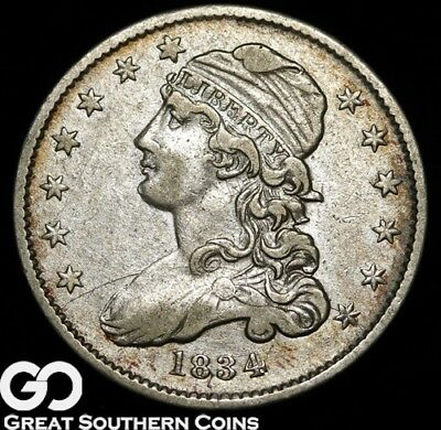 1834 Capped Bust Quarter, Choice VF++/XF Early Silver Quarter