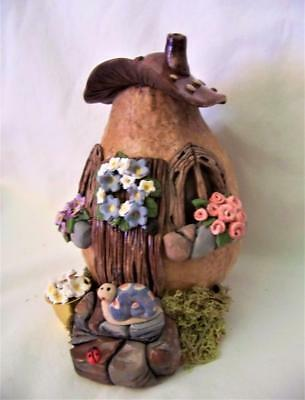 "Gourd House,6"",artist made,gourd/polymer,snail,flowers,Adorable,WOW Claydoodles"