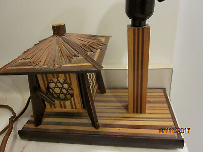 Inlaid Wooden Pagoda House Asian Oriential  table Desk Lamp butterfly shade WOW