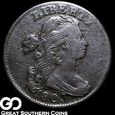1803 Large Cent, Draped Bust, Tough VF+ Early Copper, Great Strike ** Free S/H