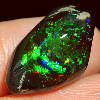 13.1CT 100% Natural African New Found Black Opal Cab Polished Nugget YMWg63