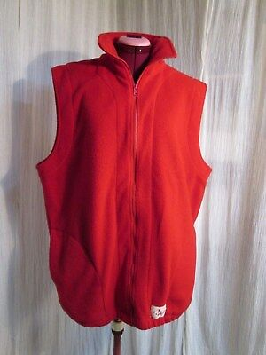 Red Fleece Zip Up Vest Canada Maple Leaf Canadian Flag Size XL 46 in chest