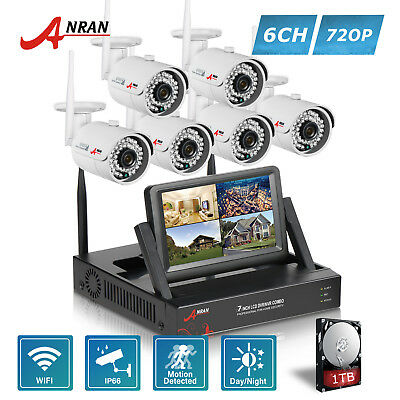 ANRAN HD 8CH 720P 1TB Wireless Home Security System 6PCS CCTV IP Camera Outdoor