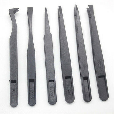 6pcs Black Precision Tweezer Set Plastic Anti Static Tool Kit Size 1/2/3/5/6/8