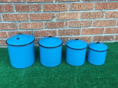 Vintage Enameled Tin Kitchen Containers Nesting Lot of 4 Vintage Japan Blue