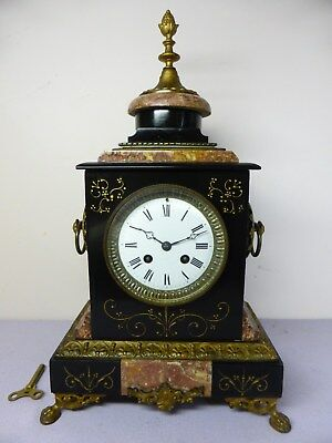 antique French JAPY FRERES marble 8 day chime mantle clock. good working