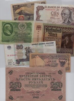 [$] World, Lot (14) Notes, Used, Finland 10 Marka 1cm Torn