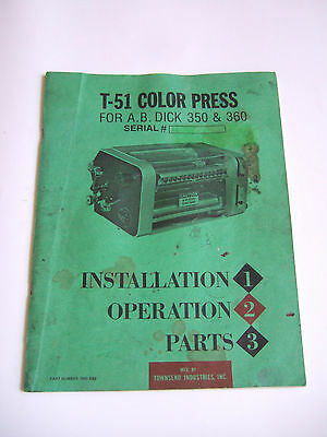 T-51 Color Press For Ab Dick 350 360 Instructions