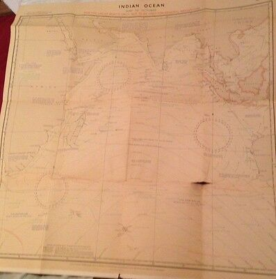 Vintage WWII Sea Map Indian Ocean May to Oct 1942 UK Crown Nautical Chart