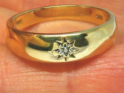 9ct Gold 9k Gold Diamond Gents Mens Hallmarked ring size T  3.7 grams