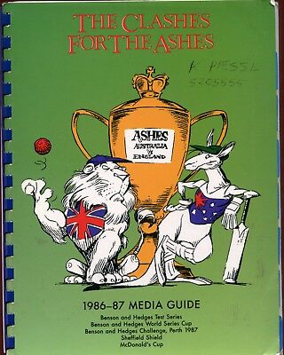 1986-87 season Media Guide CLASHES FOR THE ASHES limited release, MY OWN COPY