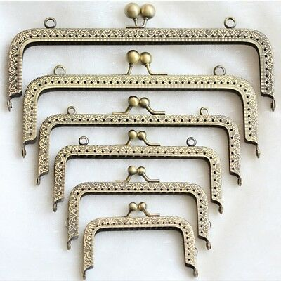 1pc Square Metal Purse Bag Frame Kiss Clasp Lock  DIY Crafts 8.5-20cm Flowers