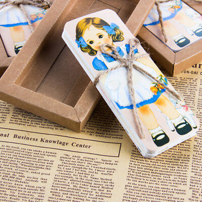 30 Pcs/lot Cute Girl Doll Mate Series Bookmark  Message Card with Kraft Package