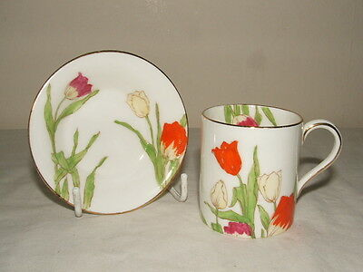 Royal Doulton Art Deco Hand Painted Tulips  Rare Design Duo  Truly Stunning