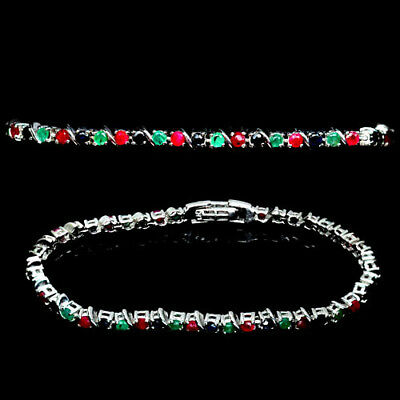 Adorable! Natural! Green Emerald, Ruby & Sapphire Sterling 925 Silver Bracelet
