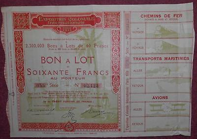 31318 FRANCE 1931 Exposition Colonale Internationale Bon a Lot 60 Francs