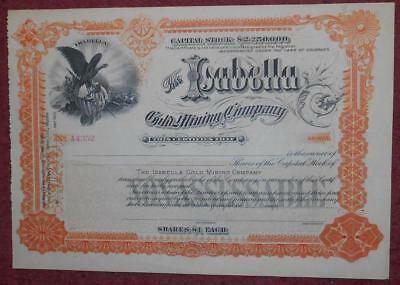 31322 USA 1890's Unissued Isabella Gold MIning shares certificate