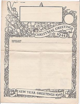"Gb 1944 Airgraph Mint Form ""christmas Greetings 1944"" + Printed Stamp."