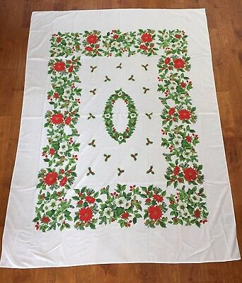 Vintage CHRISTMAS HOLLY, BERRY, PINE, POINSETTIA, & PINECONE CLOTH TABLECLOTH !!