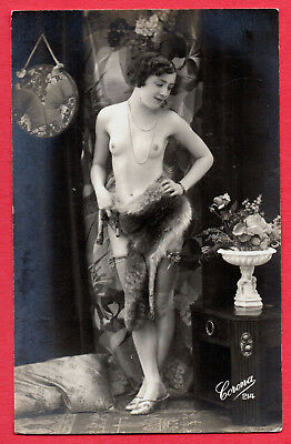 """FRENCH NUDE by """"CORONA"""" :Orig. Real Photographic postcard ca.1920"""