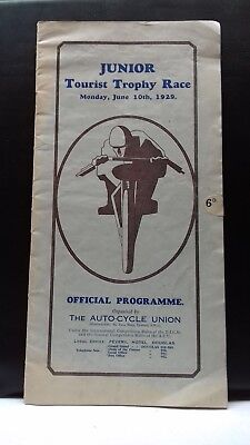 scarce 1929  junior tourist trophy race programme,  I.O.M  T.T RACE,