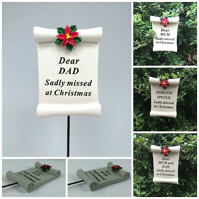 Christmas Scroll Memorial Stick, Xmas Remembrance Tribute Spike Grave Side Stake