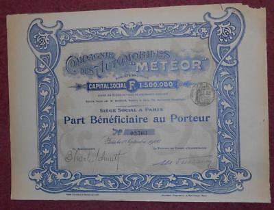 "31330 FRANCE 1906 Automobiles ""Meteor"" Part Beneficiaire Bearer certificate"