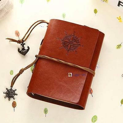 Retro Vintage Leather Bound Blank Page Notebook Note Notepad Journal Diary C BA
