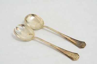 Pair Of Antique Silver Plated Salad Servers (Ms3)