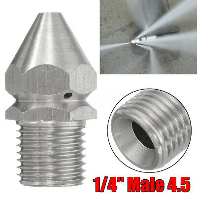Pressure Washer Drain Sewer Cleaning Pipe Jetter Spray Nozzle 4 Jet 1/4''M 4.5