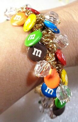 Advertising M&Ms Chunky Beaded &  Multi-Colored M&M Charms Stretch Bracelet