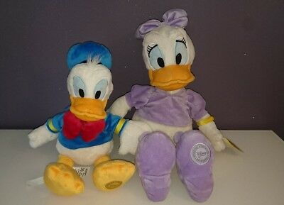 Disney Store Donald and Daisy Duck Soft Plush Toys Stamped