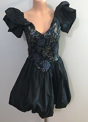 vtg 80s Jessica McClintock Gunne Sax black puff sleeve Party prom dress 9/10