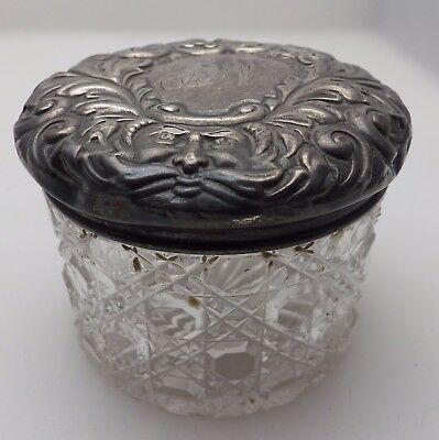 Antique 1899 Chester Sterling Silver Topped Glass Dressing Table Pot w/ Face