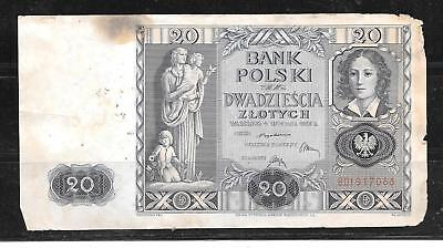 Poland Polish #95 1940 Good Circulated 20 Zlotych Banknote Paper Money Currency
