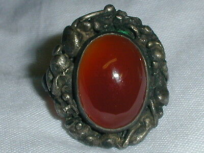 Stunning! Antique Sterling Carnelian Ring-  Size 6!