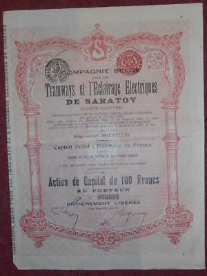 31336 RUSSIA 1907 Tramways...of Saratov share certificate - with coupons