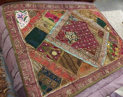 Vintage Middle Eastern / Jordanian Embroidered Throw w/ Wire Work, Beading, etc