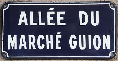 French enamel steel street sign plaque plate road Marche Guion Market Chartres