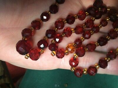 Vintage Cherry Bakelite Faceted Bead Necklace/ Wear Or Restring