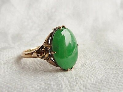 Vintage Chinese 14ct Gold Jade Ring UK szN USA sz7 EU sz54 NO RESERVE